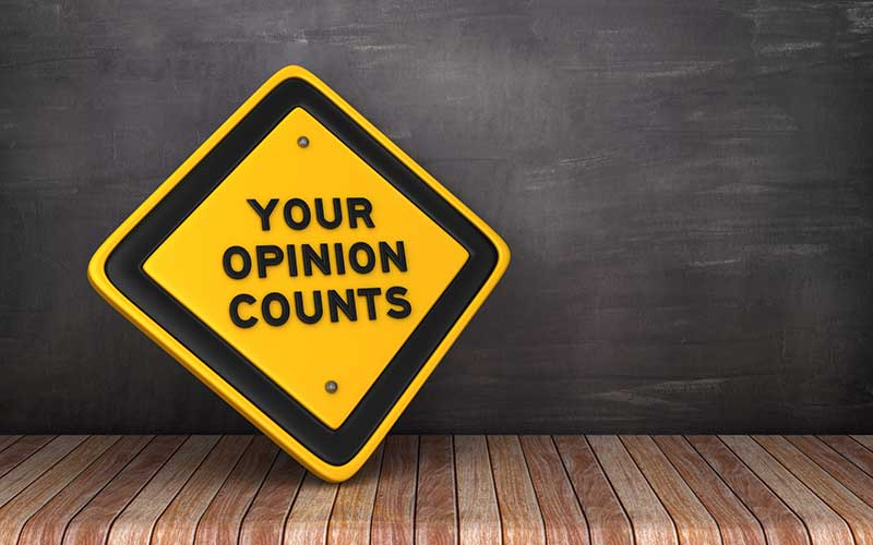 content marketing research - your opinion counts sign