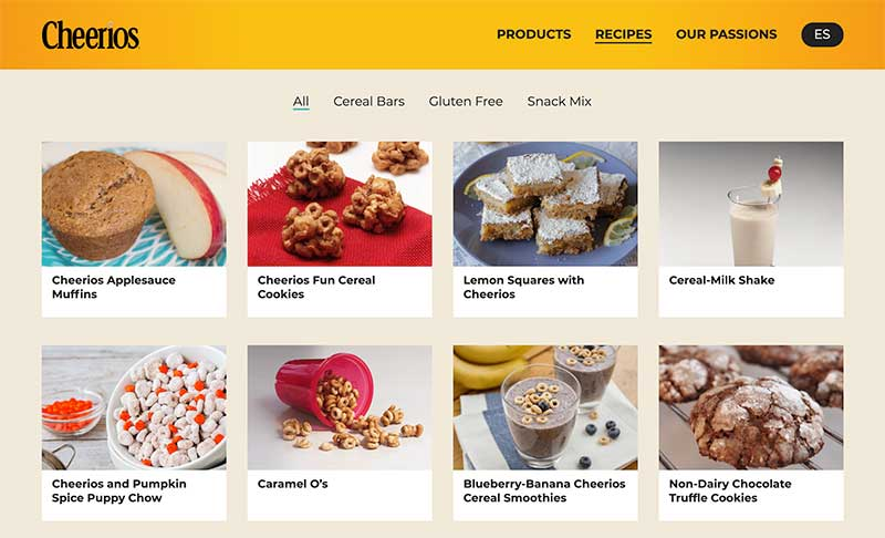 Cheerios recipes - content marketing campaigns