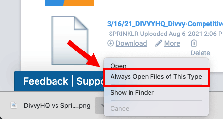 Chrome - always open files of this type