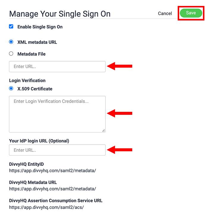 sso configuration - credentials