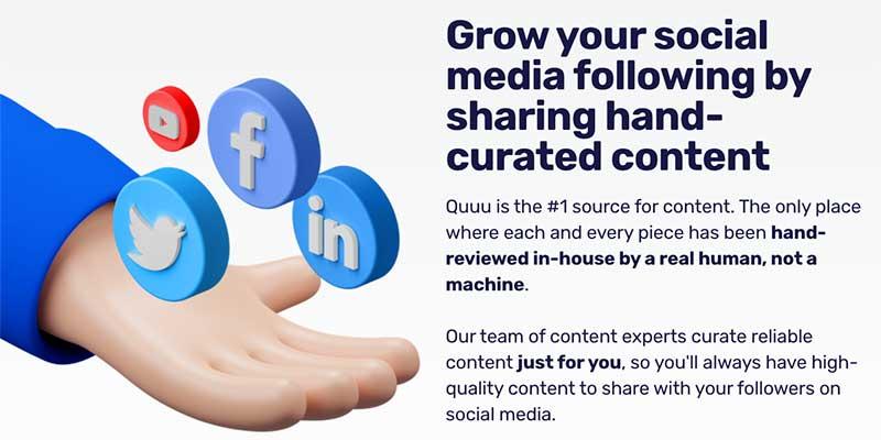 content curation tools - quuu