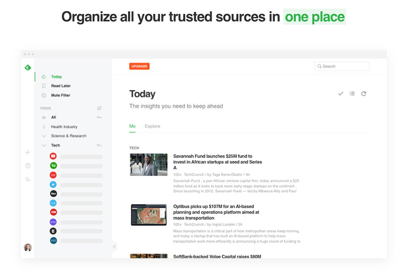 content curation tools - Feedly