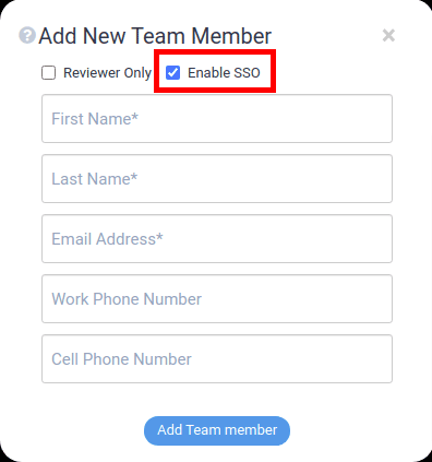 add new team member - enable sso
