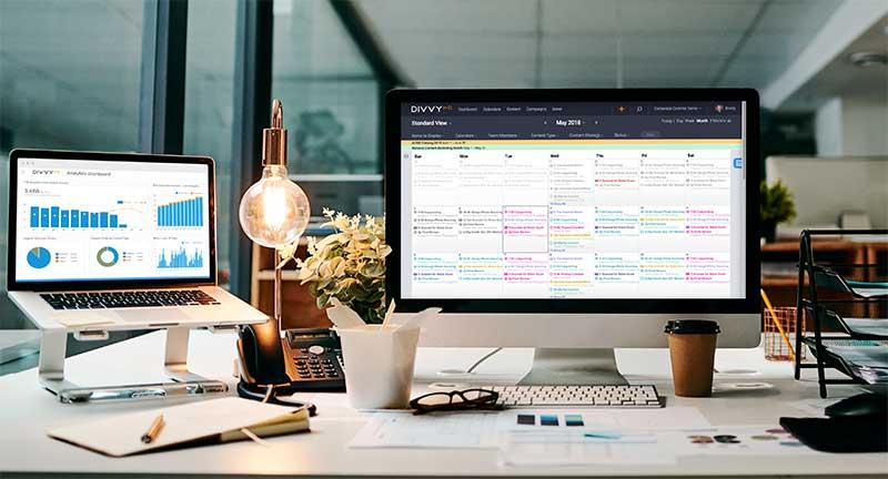 divvyhq calendar and analytics screenshots