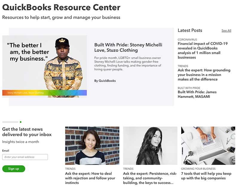 best brands in content marketing - Quickbooks