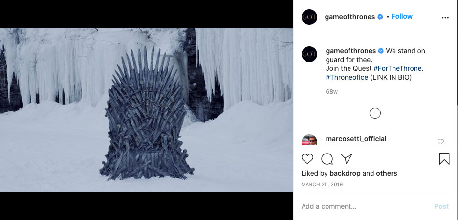 Game of Thrones - real-time content example