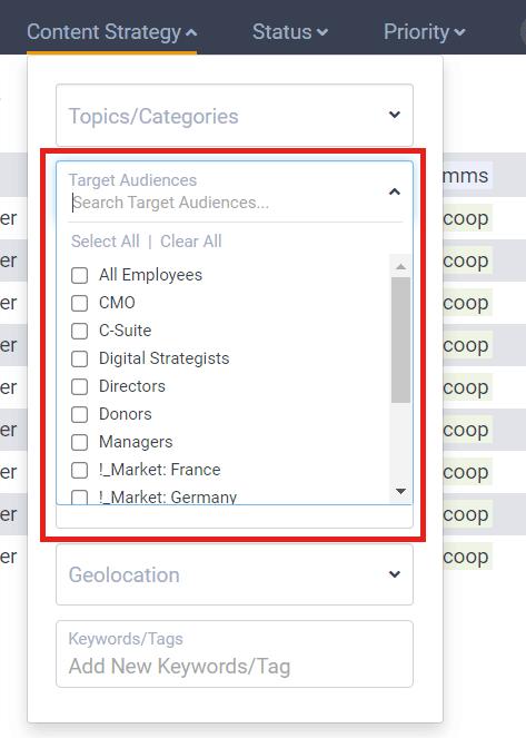 DivvyHQ's Target Audiences field